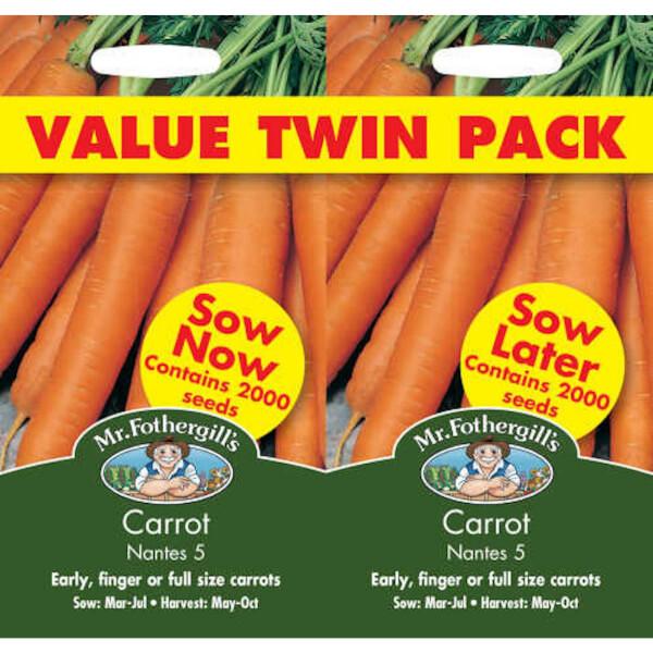Mr. Fothergill's Carrot Nantes 5 Bumper Pack Seeds