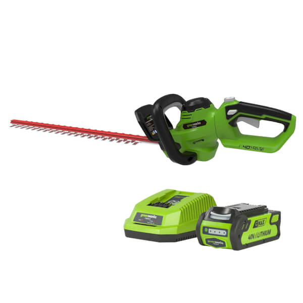 Greenworks G40HT61K2-A 40V Hedge Trimmer with 2Ah Battery and Charger
