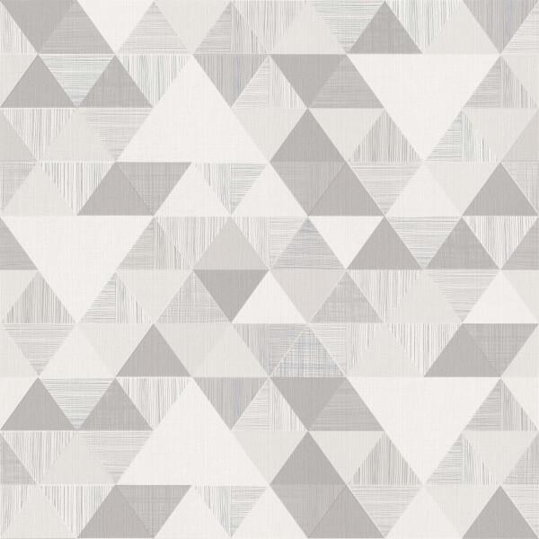 Grandeco Geo Triangle Grey Wallpaper