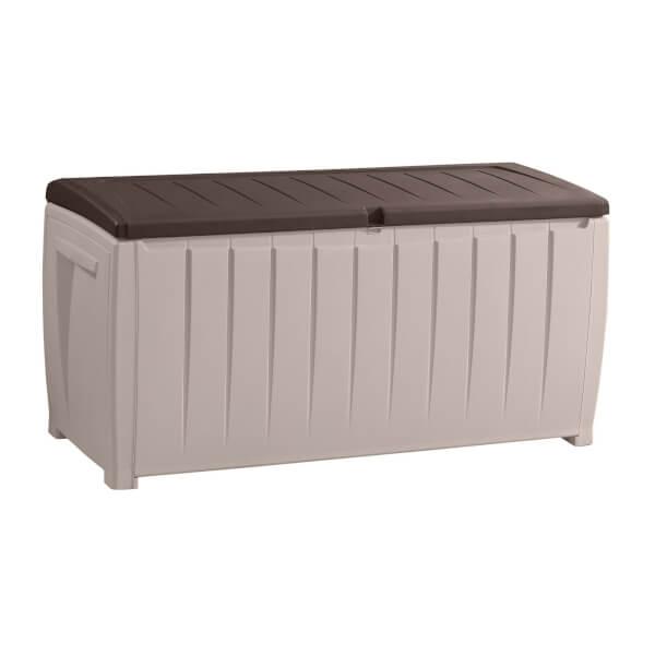 Keter Novel Plastic Outdoor Plastic Garden Storage Box 340L - Beige/ Brown