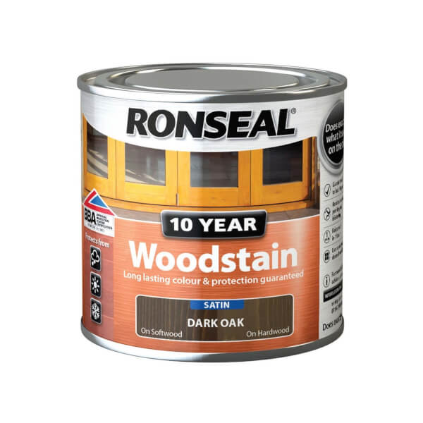 Ronseal 10 Year Woodstain Satin Dark Oak - 250ml