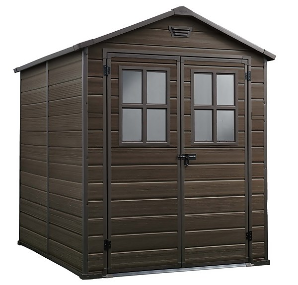 Keter Scala Outdoor Garden Storage Shed 6x8ft Brown