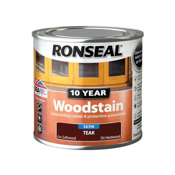 Ronseal 10 Year Woodstain Satin Teak - 250ml