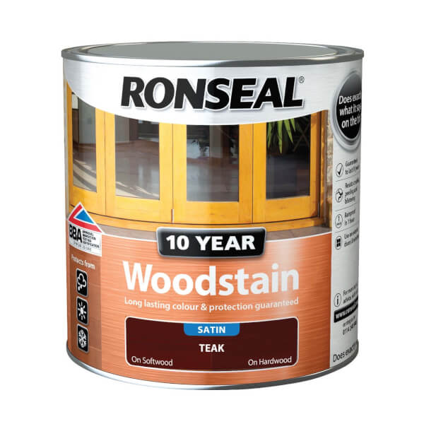 Ronseal 10 Year Woodstain Satin Teak -  2.5L