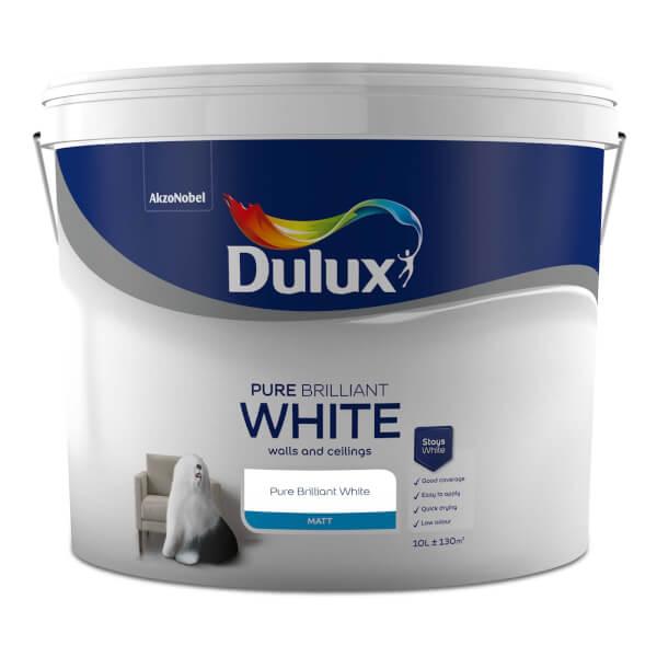 Dulux Pure Brilliant White - Matt Emulsion Paint - 10L