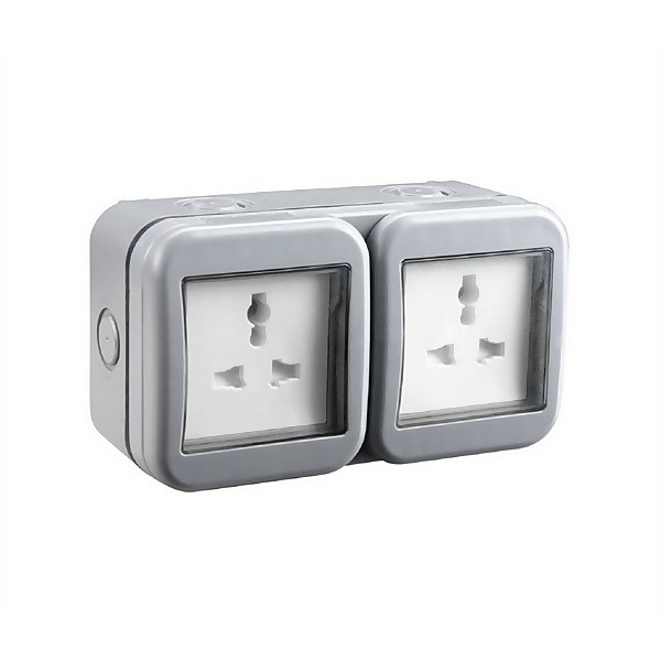 BG 13 Amp 2 Gang Unswitched Weatherproof Socket IP55 Rated Grey