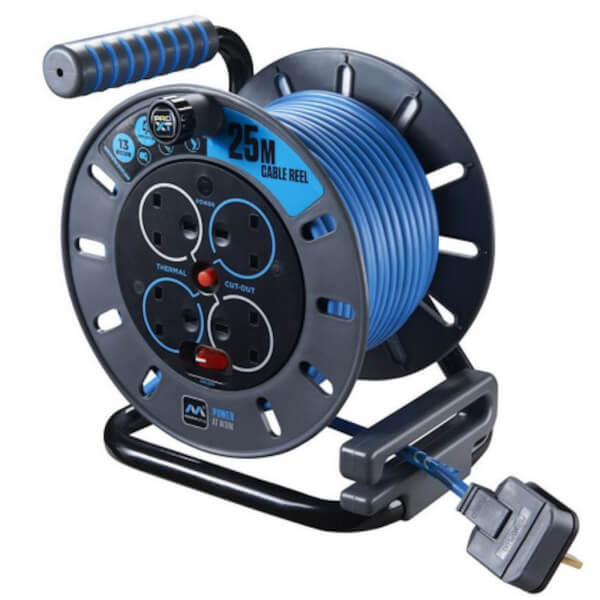 Masterplug Pro XT 4 Socket Cable Reel 25m Blue