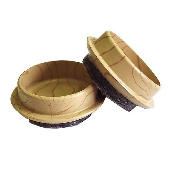 Castor Cups With Felt Base - Light Wood Grain - 45mm - 4 pack