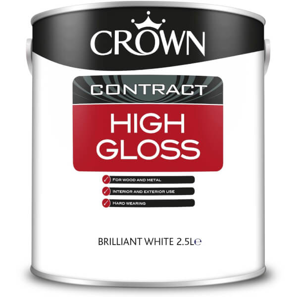 Crown Contract High Gloss Brilliant White Paint - 2.5L