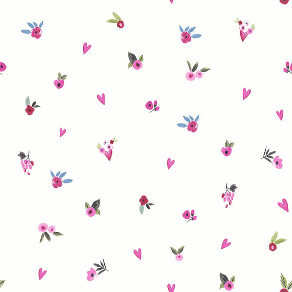 Arthouse Paris with Love Floral Embossed Glitter White and Pink Wallpaper