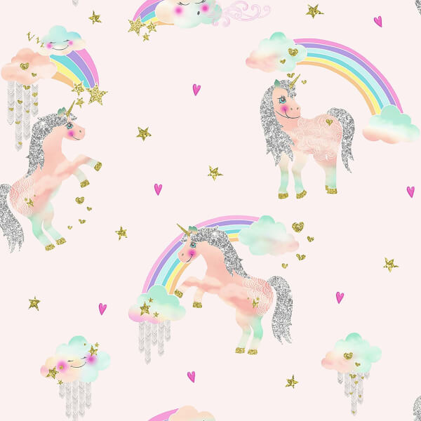 Arthouse Rainbow Unicorn Kids Smooth Glitter Pink Wallpaper