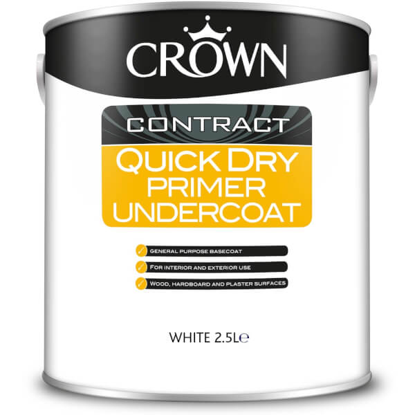 Crown Contract Quick Drying Primer & Undercoat White Paint - 2.5L