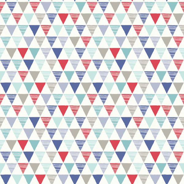Arthouse Jester Bright Geometric Smooth Red and Blue Wallpaper
