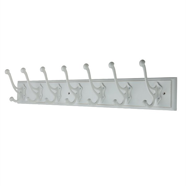 7 White Antique Hooks on Rustic Board