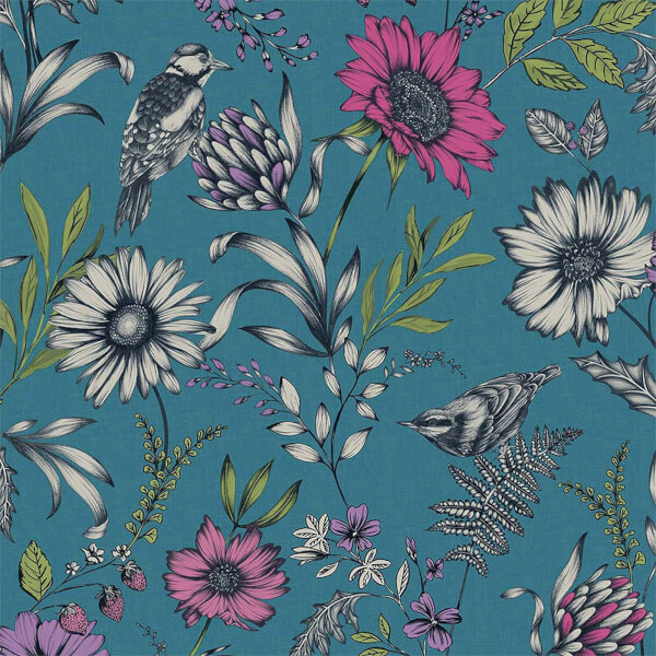 Arthouse Botanical Songbird Floral Smooth Glitter Teal Wallpaper