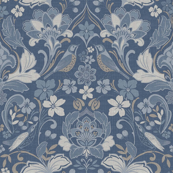 Arthouse Folk Floral Smooth Blue Wallpaper
