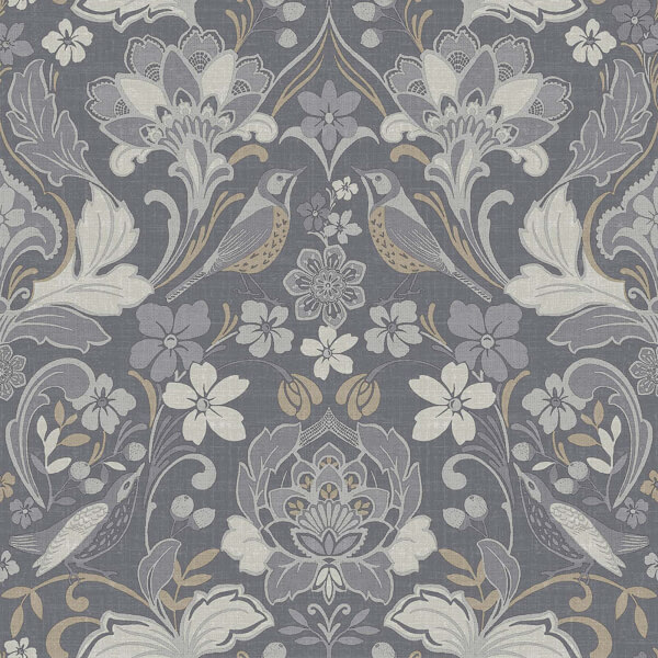 Arthouse Folk Floral Smooth Grey Wallpaper
