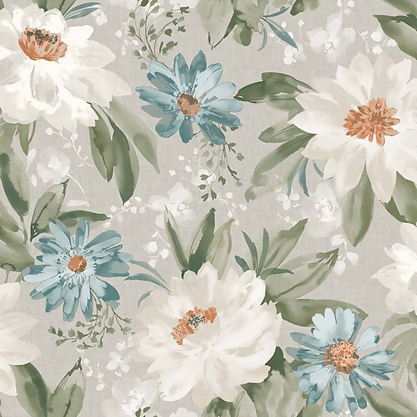Arthouse Painted Dahlia Floral Smooth Green Multi Coloured Wallpaper