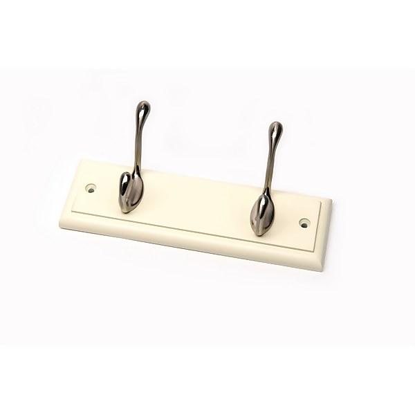 2 Coat Satin Nickel Hooks on Cream Stepped Board