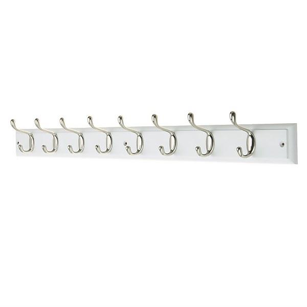 8 Coat Satin Nickel Hooks on White Stepped Board