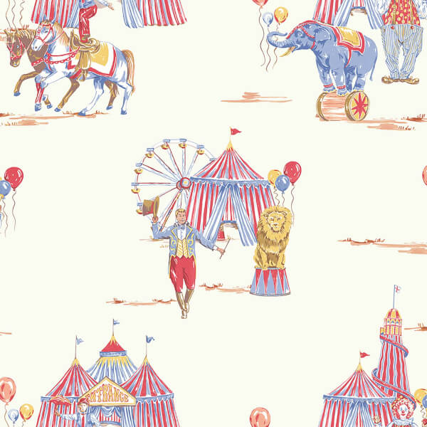 Arthouse Circus Fun Kids Smooth Multi Coloured and Cream Wallpaper