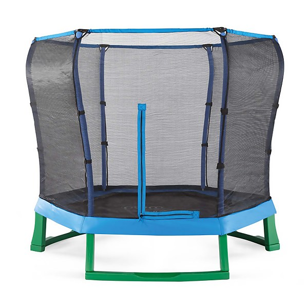 Plum 7ft Junior Jumper Springsafe Trampoline & Enclosure - Blue/Green