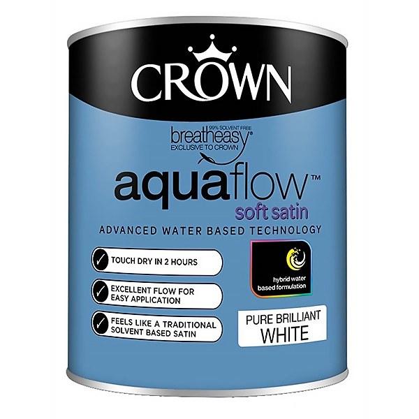Crown Pure Brilliant White Aquaflow Satin Paint - 750ml