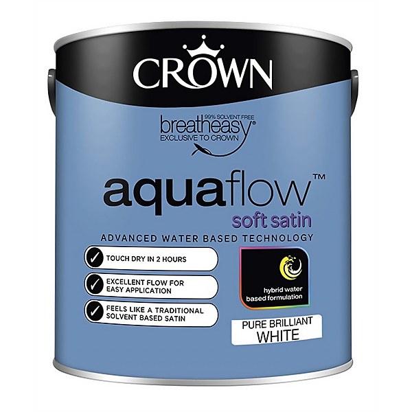 Crown Pure Brilliant White Aquaflow Satin Paint - 2.5L