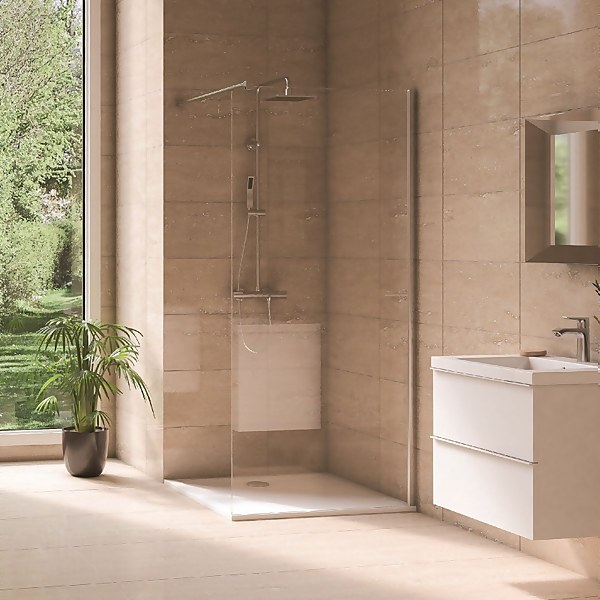 Aqualux Wet Room Shower Panel Glass - 900 x 2000mm