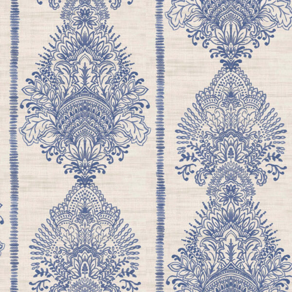 Arthouse Silk Road Damask Embossed Indigo Blue Wallpaper