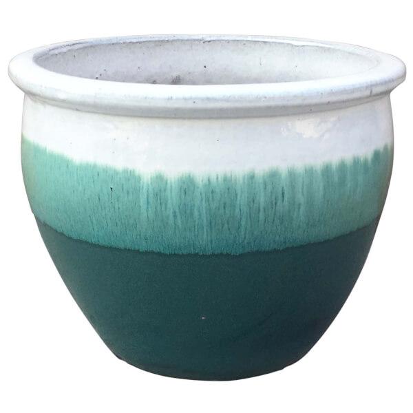 Gradina Round Terracotta Glaze Garden Plant Pot - Ombre / 36cm