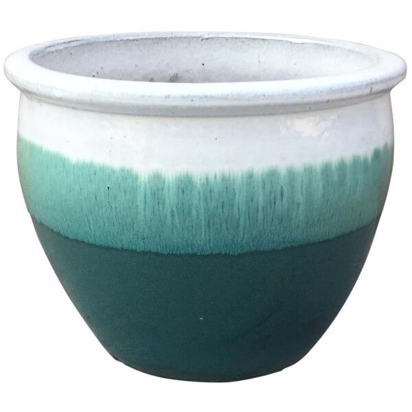 Gradina Round Terracotta Glaze Garden Plant Pot - Ombre / 46cm