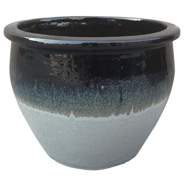 Gradina Round Terracotta Glaze Garden Plant Pot - Grey / 46cm