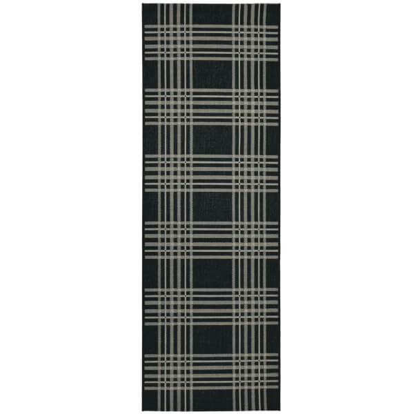 County Check Black Rug - 67 x 200cm
