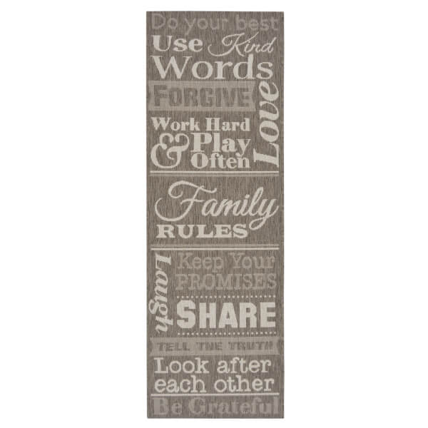County Family Rules Taupe Rug - 67 x 200cm