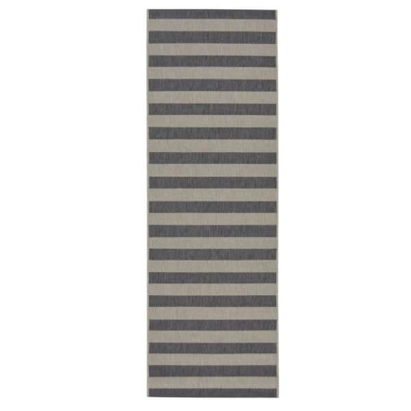 County Stripe Grey Rug - 67 x 200cm