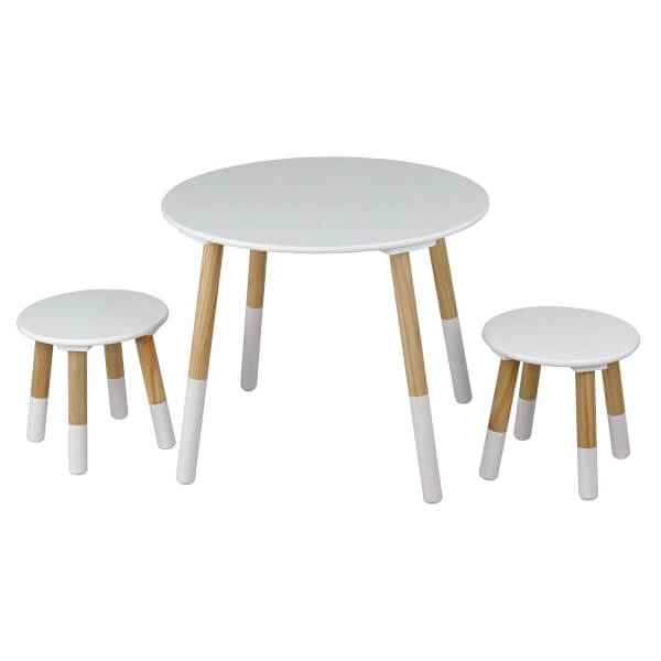 Kids Round Table with 2 Stools - White and Oak