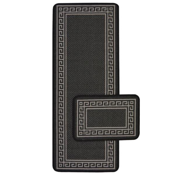 Greek Key Black Runner & Mat Set - 57x100 & 57x40cm