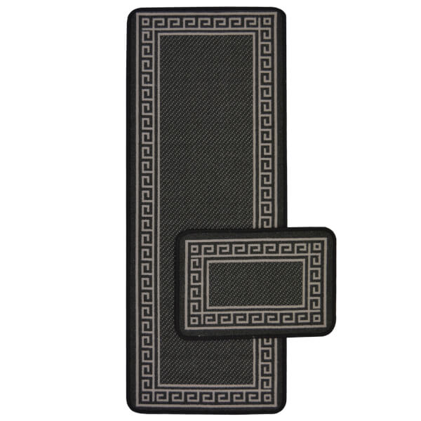 Greek Key Black Runner & Mat Set - 57x230 & 57x40cm