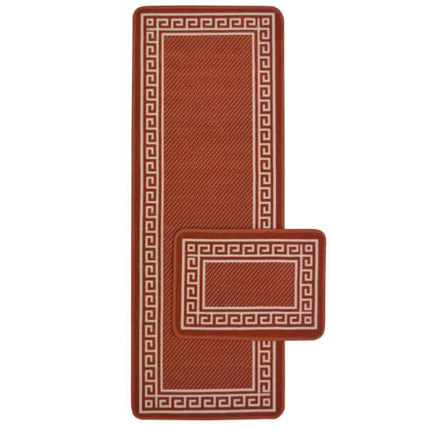 Greek Key Terracotta Runner & Mat Set - 57x230 & 57x40cm