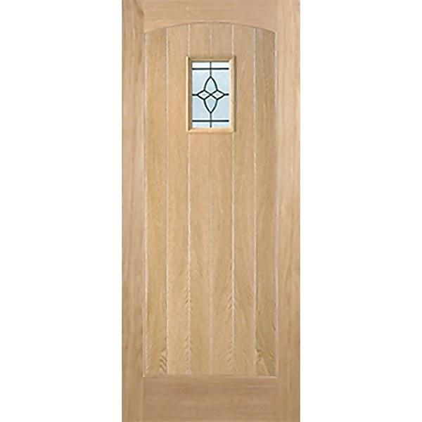 Cottage External Glazed Unfinished Oak 1 Lite Door - 915 x 2135mm