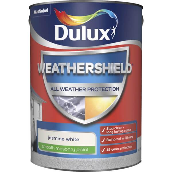 Dulux Weathershield All Weather Smooth Masonry Paint - Jasmine White - 5L