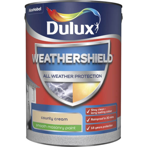 Dulux Weathershield All Weather Smooth Masonry Paint - County Cream - 5L