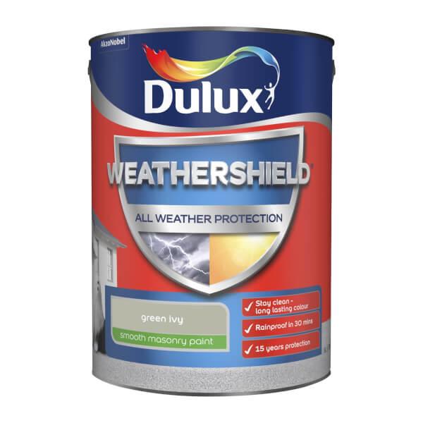 Dulux Weathershield All Weather Smooth Masonry Paint - Green Ivy - 5L