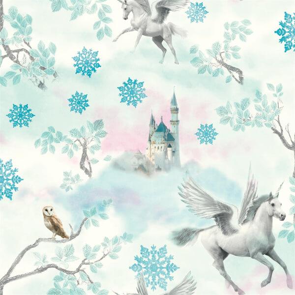 Arthouse Fairytale Unicorn Kids Smooth Glitter Blue Wallpaper