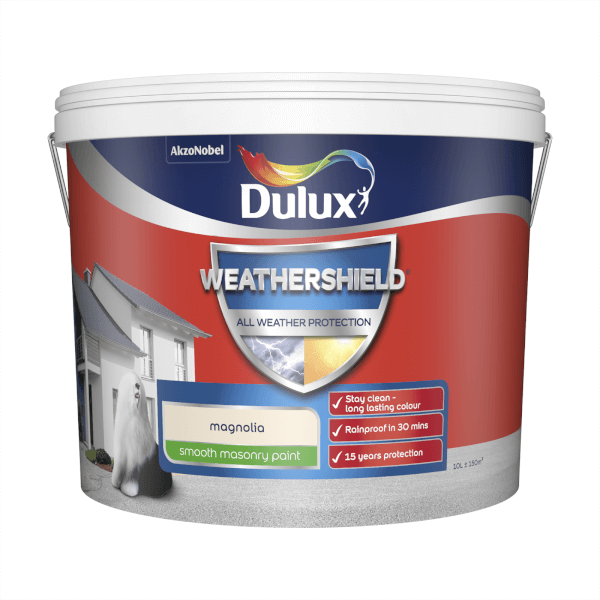 Dulux Weathershield All Weather Smooth Masonry Paint - Magnolia - 10L