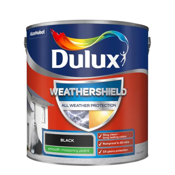 Dulux Weathershield All Weather Smooth Masonry Paint - Black - 2.5L