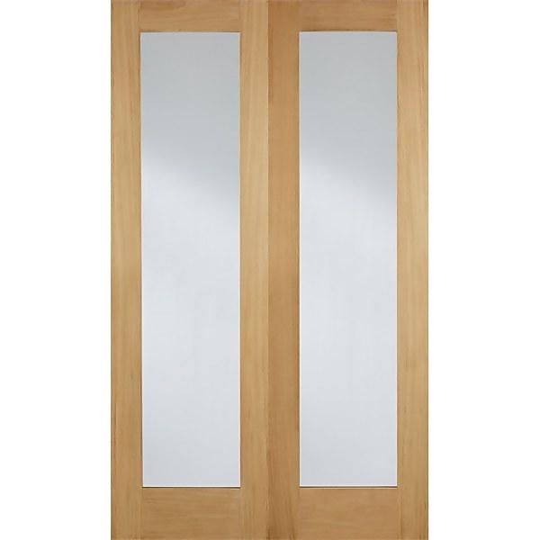 Pattern 20 Internal Glazed Unfinished Oak 1 Lite Pair Doors - 1220 x 1981mm