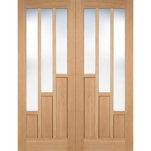 Coventry Internal Glazed Unfinished Oak 3 Lite Pair Doors - 915 x 1981mm