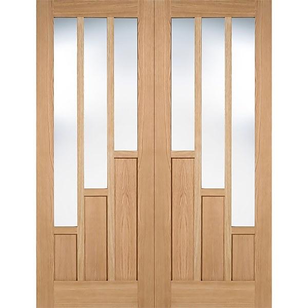 Coventry Internal Glazed Unfinished Oak 3 Lite Pair Doors - 1067 x 1981mm